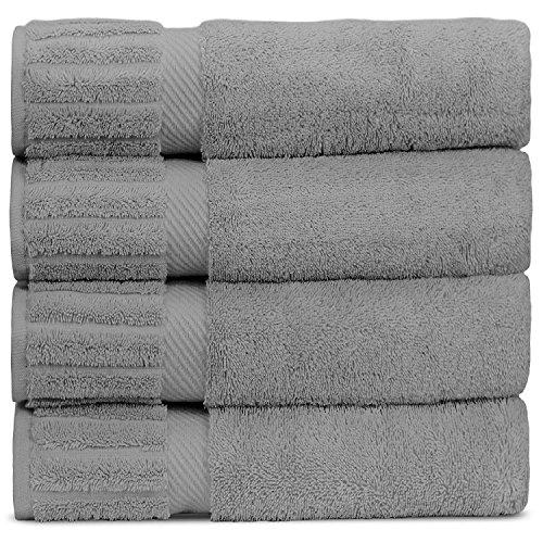 Bare Cotton Luxury Hotel & Spa Towel Turkish Bath Towels Piano, Set of 4, Gray