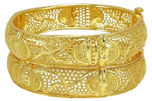 22k Gold Bangles - Banithani 18K Gold Plated Traditional 2 PC Screw Lock Kada Bangle Set Imitation Jewelry-24