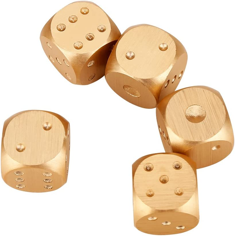Vbestlife Precision Aluminum Alloy Dice Solid Metal Dice Set Table Game Dice Poker Games Dices Set with Case 5pcs