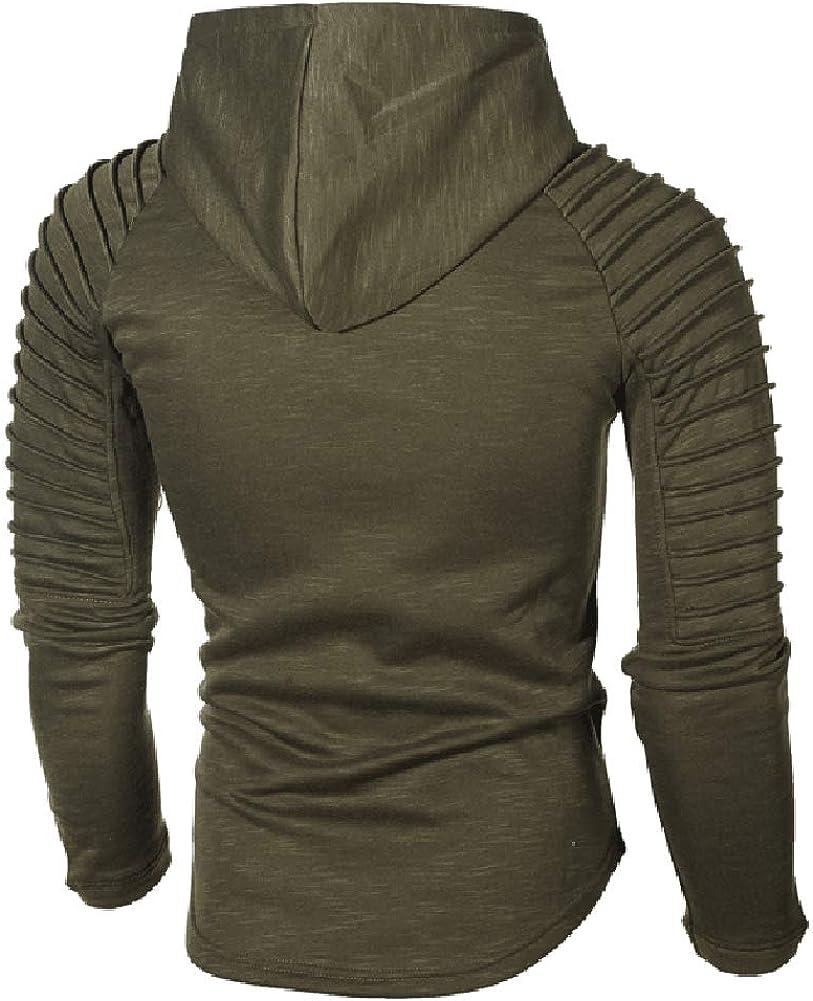 Mens Casual Long Sleeve Hoodies Solid Colors Sweatshirt M-3XL Green1