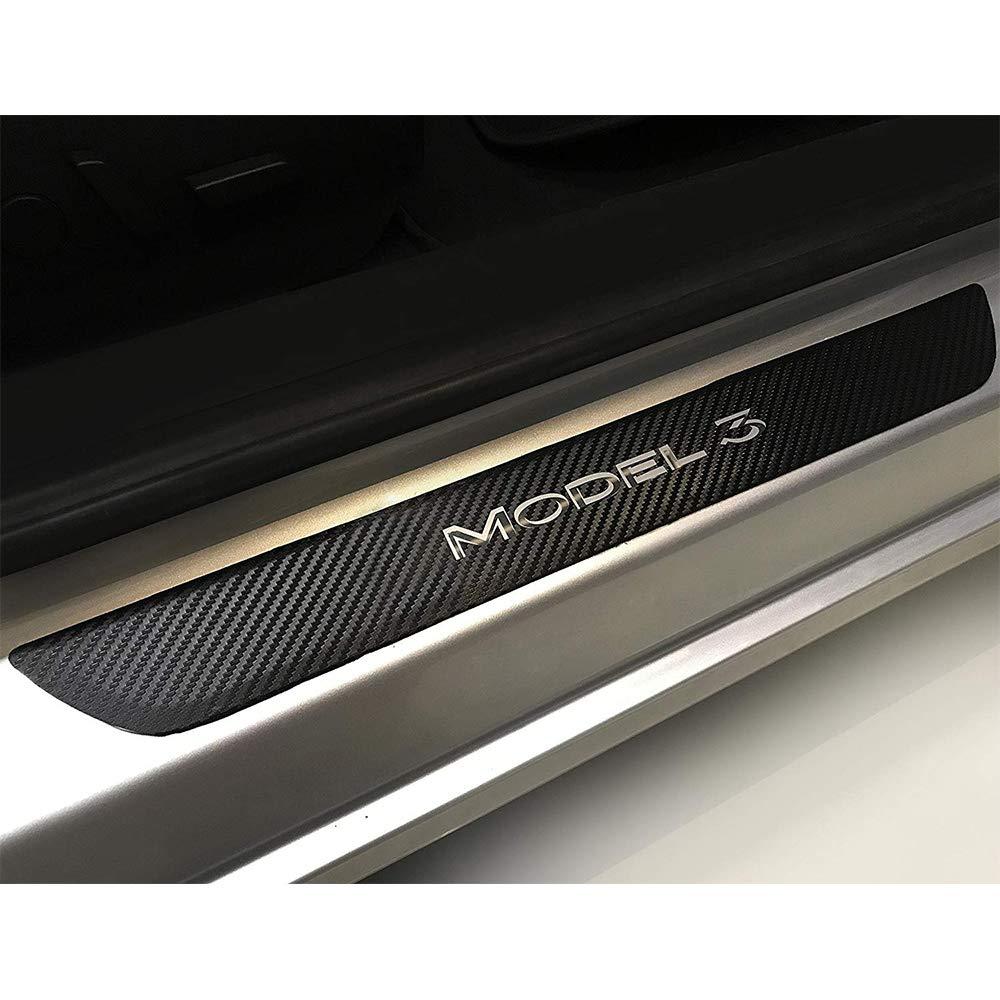 El volante cubre el ajuste caja del negro de la fibra de carbono de la decoraci/ón interior del coche para 2017 2018 2019 modelo 3-1PCS
