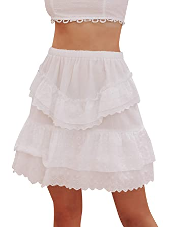 11bc87d3e Simplee Women's Hollow Out Embroidery Casual Mini Skirt High Waisted A-Line  Short Cotton Skirt