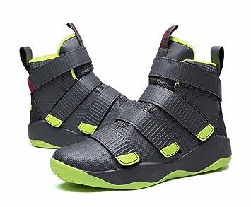 Hombres Velcro Baloncesto Zapatillas 2017 Otoño Invierno Cima Mas Alta Entrenadores Moda Respirable Atlético Corriendo Zapatos (Color : Gray , Size : 39) : ...