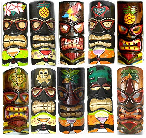 SET OF 10 HAND CARVED POLYNESIAN HAWAIIAN TIKI STYLE MASKS 12 IN TALL by WorldBazzar