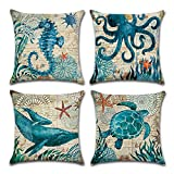 MIULEE Pack of 4 Decorative Ocean Park Theme Outdoor Pillow Cover Ocean Animal Cushion Cover Set Cotton Linen for Sofa Bedroom Car 18 x 18 Inch 45 x 45 Cm Sea Turtle Sea Horse Whale Octopus