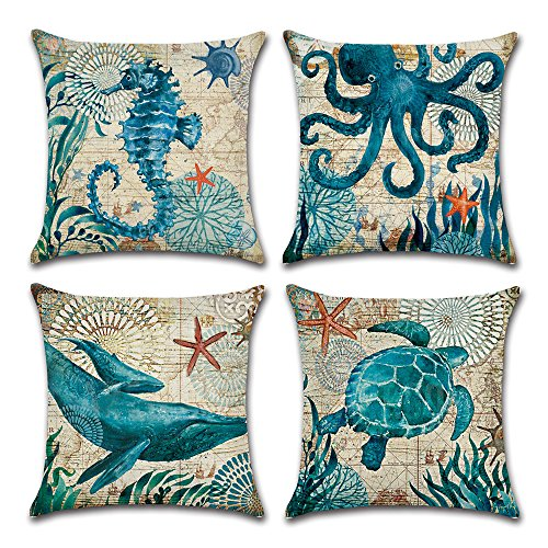 MIULEE Pack of 4 Decorative Ocean Park Theme Outdoor Pillow Cover Ocean Animal Cushion Cover Set Cotton Linen for Sofa Bedroom Car 18 x 18 Inch 45 x 45 cm - Cotton Bench Outdoor