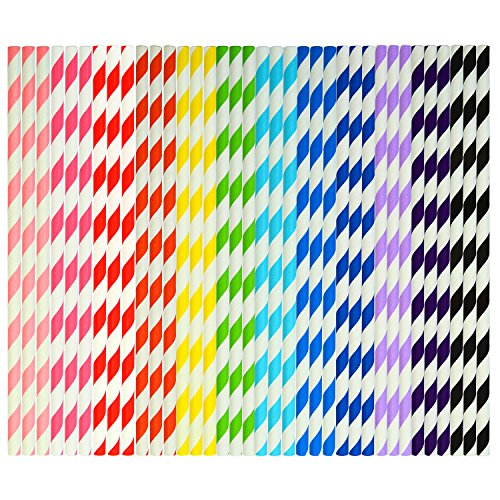 Coobey 300 Pieces Paper Straws Biodegradable Drinking Stripe Straw with Bulk Drinking Straws Decorations for Wedding Supplies and Party Favors, 12 Colors ()