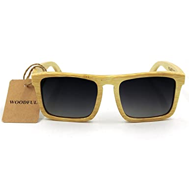 9b03aa1297 Amazon.com  Bamboo Sunglasses - 100% Hand Made Wooden Sun Glasses ...