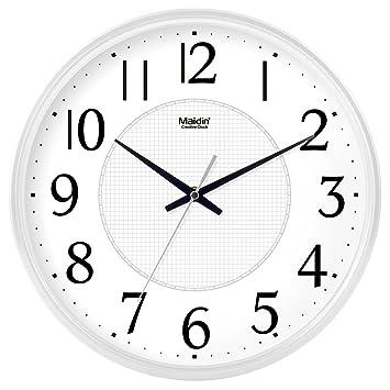 Jack Mall Reloj de Pared Digital de Cuarzo sin tañido silencioso con Cubierta de Vidrio (Color : Blanco, Tamaño : 14 Inch): Amazon.es: Hogar