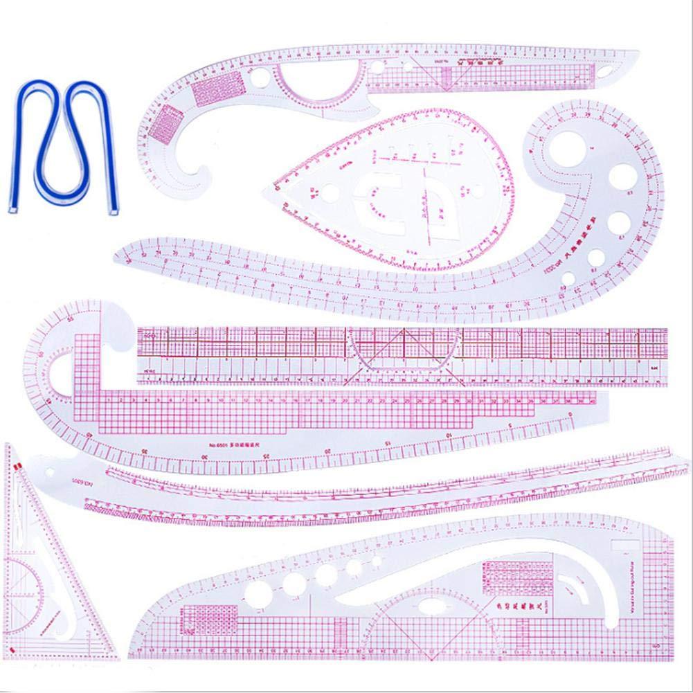 Euopat Righello di Cucito Set di Righello metrico Francese Righello di Cucito di plastica della Curva metrica del regolatore di Vestiti per Modello di Sartoria