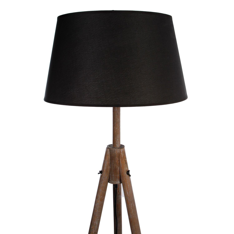 Hauteur 153 cm Atmosphera Lampadaire Bois Miry Noir