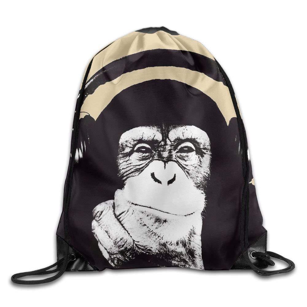 9ea910a664 Cartelle e zaini per la scuola Unisex Drawstring Bags Black Chimpanzee With  Earphone Portable Backpack Travel ...