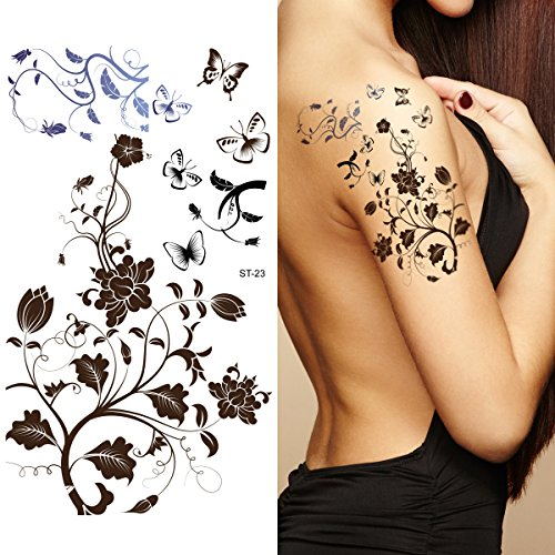 Tribal Lower Back Temporary Tattoo - Supperb Temporary Tattoos - Black Tribal Fall Flower Tattoos