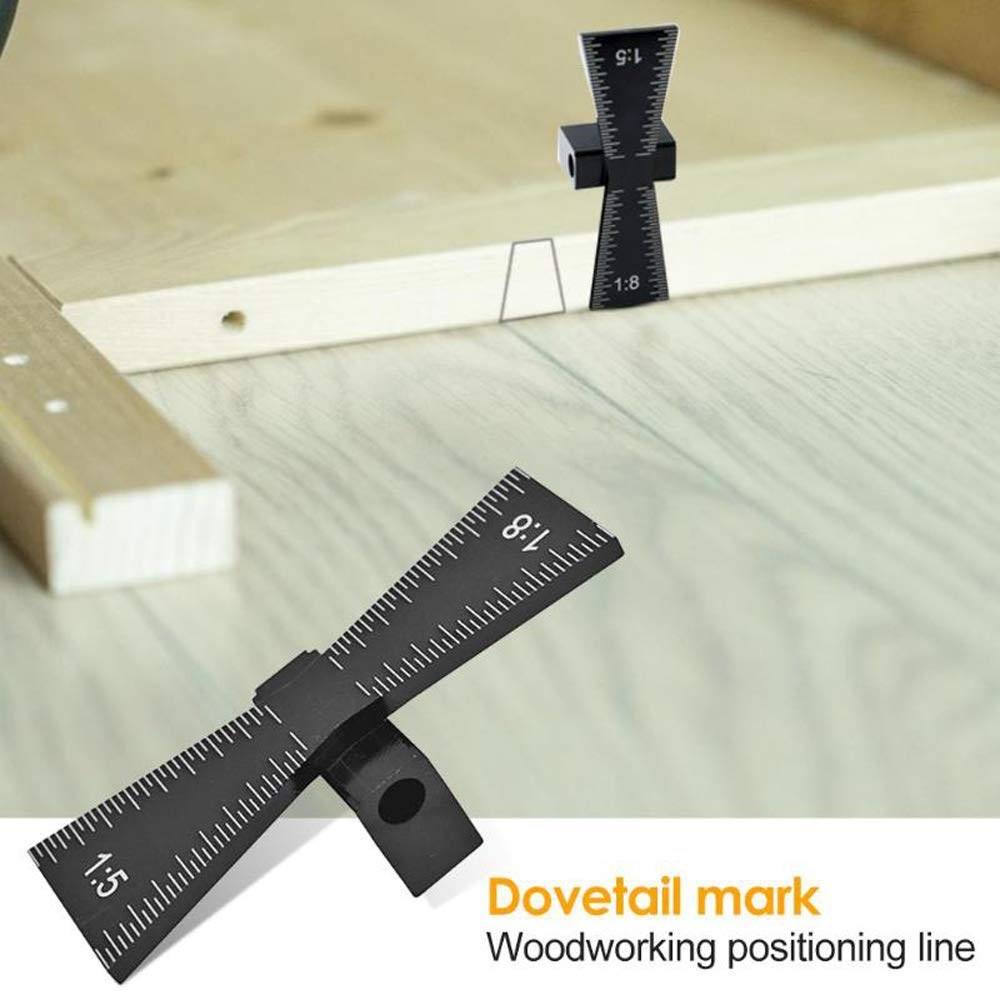 marcador de cola de milano 1: 5 1: 8 Plantilla de marcado de cola de milano herramienta de medidor de marcado de cola de milano con escala para juntas de madera de bricolaje Juntas cortadas a mano