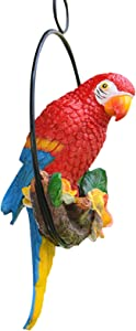 AUUNY Garden Hanging Parrot Statue Perching On Branch in Metal Round Ring Animal Model Figurine Sculpture Nature Lovers Tropical Bird DIY Lawn Patio Home Sculpture Tree Decor