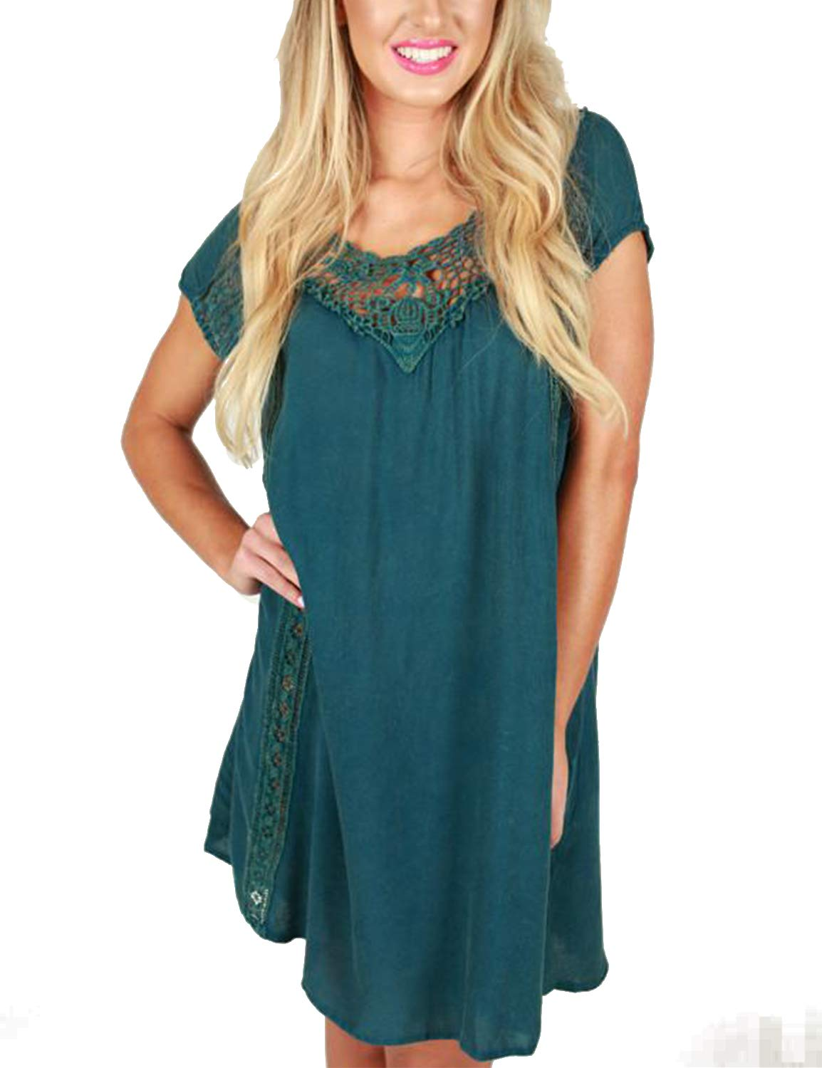 Blooming Jelly Women's Round Neck Lace Crochet Short Sleeve Flowy Mini Dress Turquoise