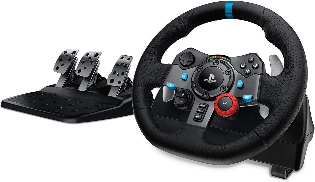Logitech G29 Driving Force Volante de Carreras y Pedales, Force Feedback, Aluminio Anodizado, Palancas de cambio, Volante de Cuero, Pedales Ajustables, Enchufe EU, PS4/PS3/PC/Mac, Negro