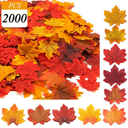 VONDERSO Artificial Maple Leaves, Autumn Fall Leaves Bulk
