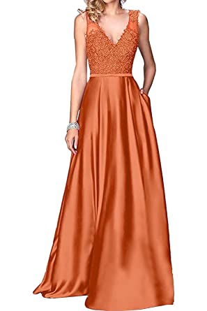Ladsen Womens Long Satin Prom Dresses 2018 V Neck Evening Gown A Line L288 Orange US0