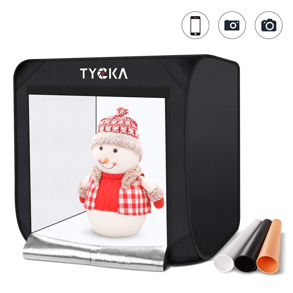 TYCKA Photo Studio Box,80X80X80CM/31.5X31.5X31.5 inches Foldable Photography Studio Light Tent with 5500K LED Lights,3 Backdrops (Black, White, Beige), US Plug