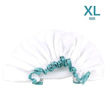 Amazon.com   White Shower Cap for Long Hair 1 Pack c81aa47de14
