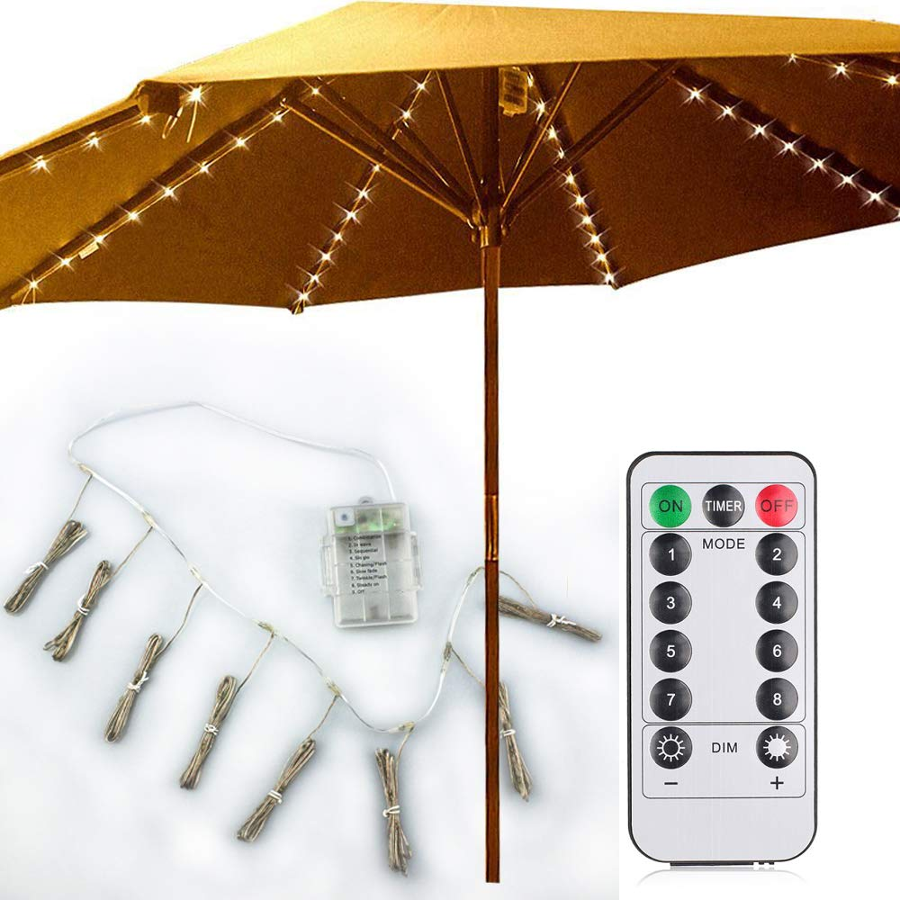Patio Umbrella Lights 8 Lighting Mode 104 LED String Lights with Remote Control Umbrella Lights Battery Operated Waterproof Outdoor Lighting for Patio Umbrellas Curtain Lights Camping Tents Warm White