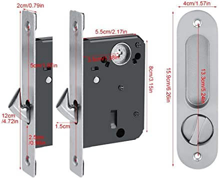 Cerradura de puerta corredera con manija de puerta invisible y 3 llaves. Cerradura de puerta antirrobo para puerta corredera/baño/armario/cocina/balcón(plata): Amazon.es: Bricolaje y herramientas