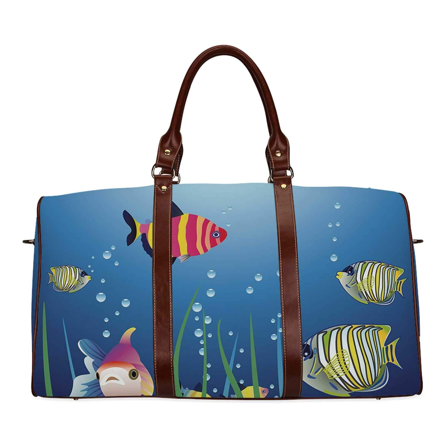Aquarium Practicality Travel Bag,Aquarium Seascape with Colorful Tropical Fishes Bubbles Seaweed Marine Theme Decorative for School,20.8''L x 12''W x 9.8''H by YOLIYANA
