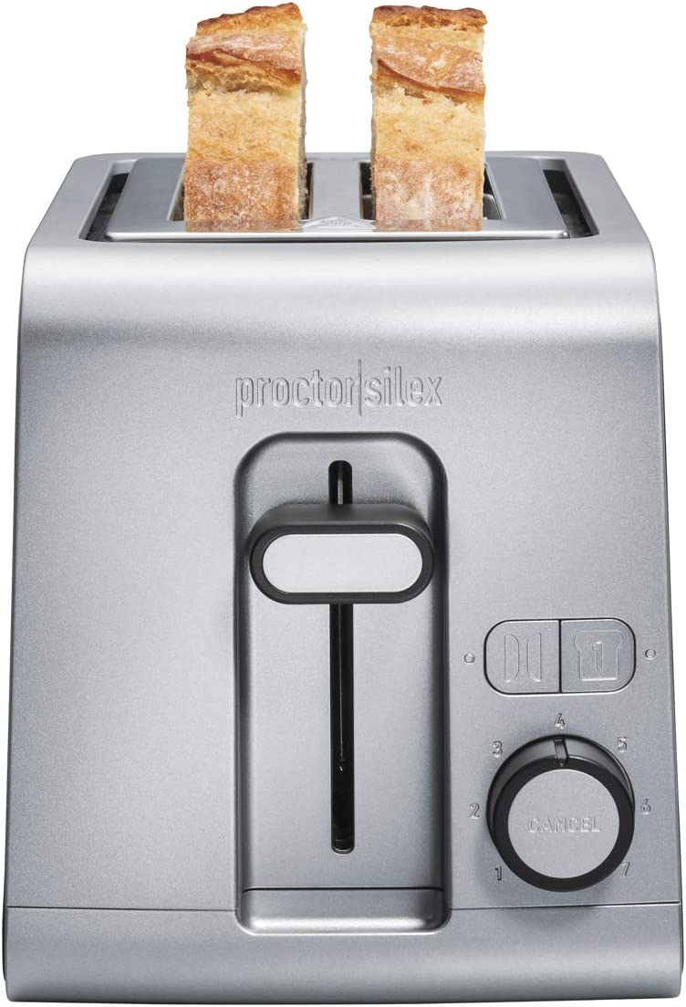 Proctor-Silex 2 Slice Extra Wide Slot Toaster with Sure-Toast Technology, Shade Selector & Bagel Setting, Black and Stainless Steel (22302), SILVER