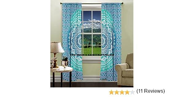 Set de 2 cortinas con cenefas para ventana, diseño de Mandala, de ...