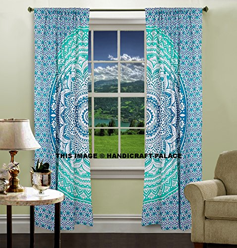 HANDICRAFT-PALACE Mint Green Ombre Mandala Tapestry Curtain Indian Art 2 Valances Drape Panel Set Boho Decor Window Curtains Panels 82 Inch