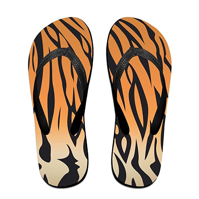 3d7616de96e1 Amazon.com: Bengal Tiger Stripe Flip Flops Sandy Flat Thong Sandals Beach  Slipper Top: Clothing