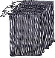 5 PCS Multi Purpose Nylon Black Mesh Drawstring Storage Ditty Bags for Travel & Outdoor Activity & Col