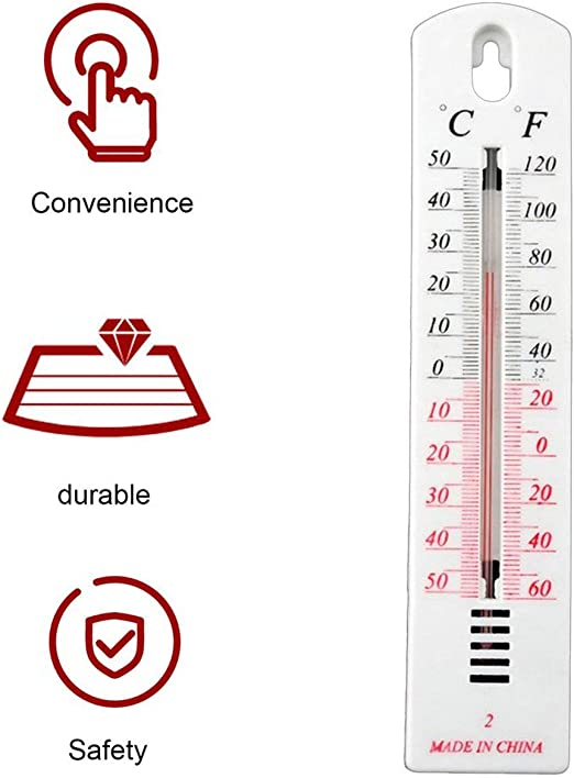BIYI White Plastic Wall Hung Thermometer Outdoor Garden Garage Indoor House Office Room Garden Greenhouse Thermometer white