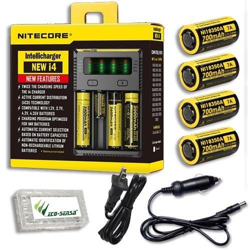 Bundle  NiteCore IntelliCharger i4-2016 version w 4x NL166 Batteries +Car & Wall Adaptors