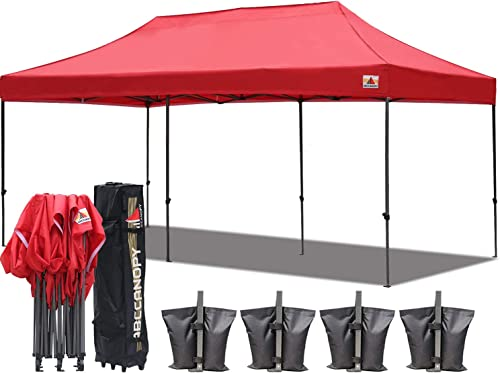 ABCCANOPY 18 Colors 10x20 Pop up Tent Instant Canopy Commercial Outdoor Canopy with Wheeled Carry Bag Bonus 6 Weight Bags red