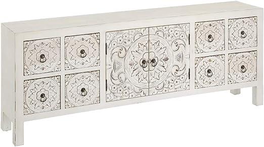 Mueble de TV Blanco de Madera con 8 cajones Oriental para salón ...
