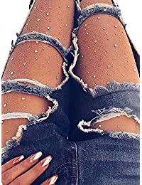 Berrygo Women's Sexy Mesh Fishnet Sparkle Glitter Rhinestone Pantyhose