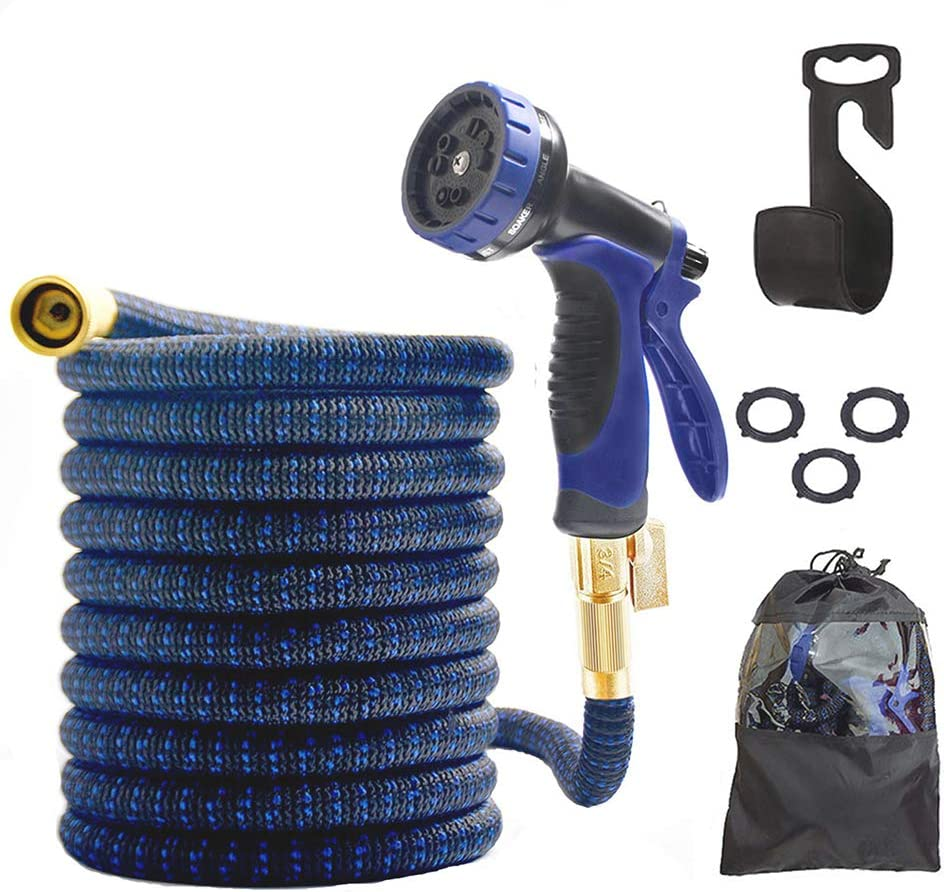 Garden Hose Expandable-10 Function Spray Nozzle,3/4 Solid Brass Connectors,3750D Fabric- 4 Layers Latex Flexible Hose, Durable and and Leak Proof Garden Hose (50 Feet)