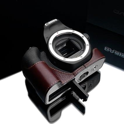 Gariz XS-CH200DBR Genuine Leather Half Case for Canon 200D / Rebel SL2,  Brown