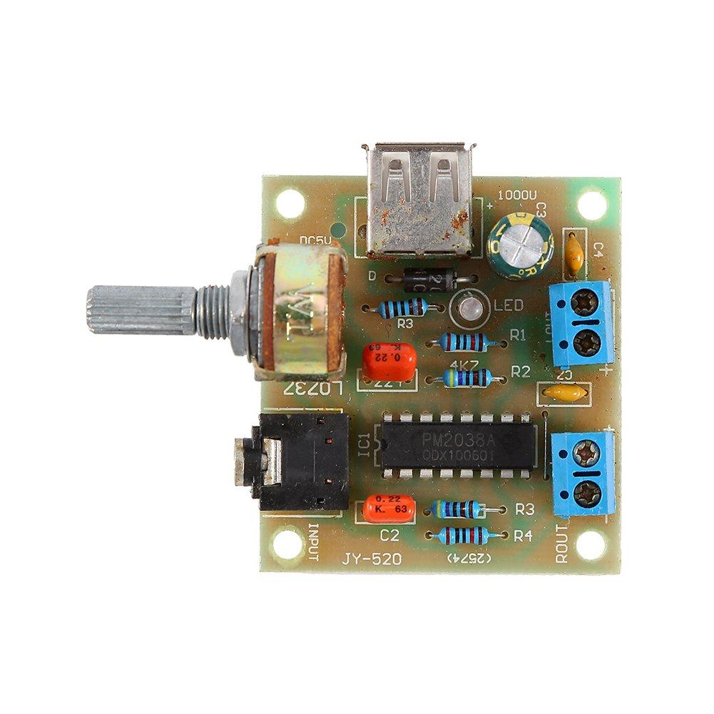 Hilitand Mó dulo de Placa de Amplificador de Audio USB PM2038 Mó dulo de Fuente de Alimentació n de Audio Receptor de Audio 5W DC 2V-6V