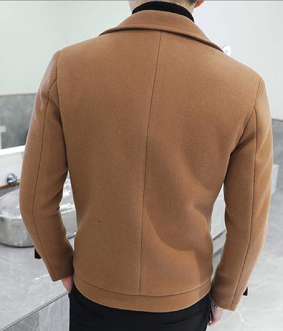 Keaac Men Lapel Warm Double Breasted Slim Fit Pea Coat Trench Jacket Overcoat