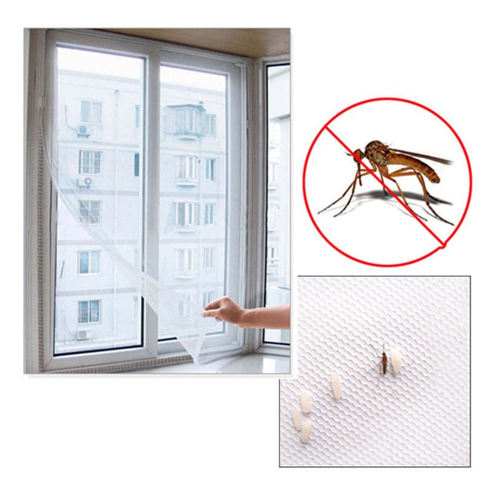 Anti Flying Insect Mosquito Snap Tapes Bug-Proof Curtain, Lionina Magic Curtain Snap Self-Adhesive Sticky Tapes, Reusable White Mesh Screen Window Sticky Tape Roll