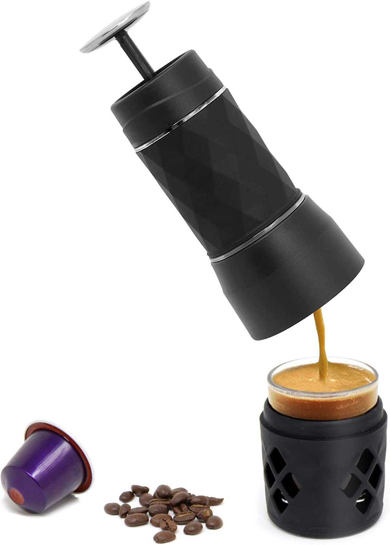 Máquina de café espresso portátil | Compatible con Nespresso y café molido | Máquina de café de viaje mini manual | Pukkr
