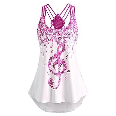 830e1bbc73f46 Fashion Women Ladies Summer V-Neck Tone Character Bandages Sleeveless Cross  Strap Vest Top Musical Notes Print Strappy Tank Tops Blouse T-Shirt White  Orange ...