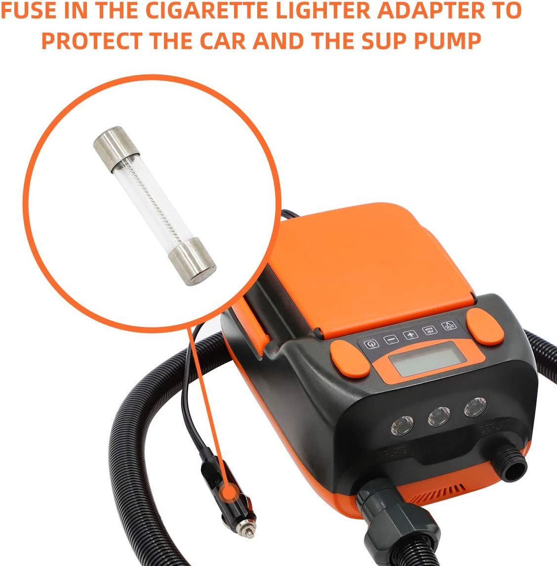 Tuomico Rechargeable Inflating Paddle Board Electric Air Pump 16PSI with Built-in 6000mAh Li-on Battery,ISUP Pump for Inflatable SUP,Kayak,Tent with Inflation and Deflation Function