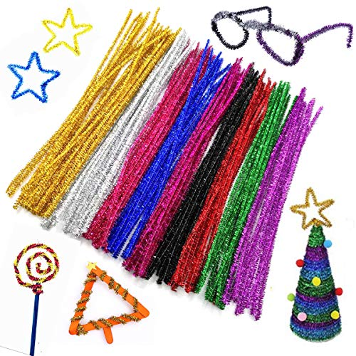 500pcs Pipe Cleaners Assorted Glitter Chenille Stems for DIY Art Craft Projects and Halloween Christmas