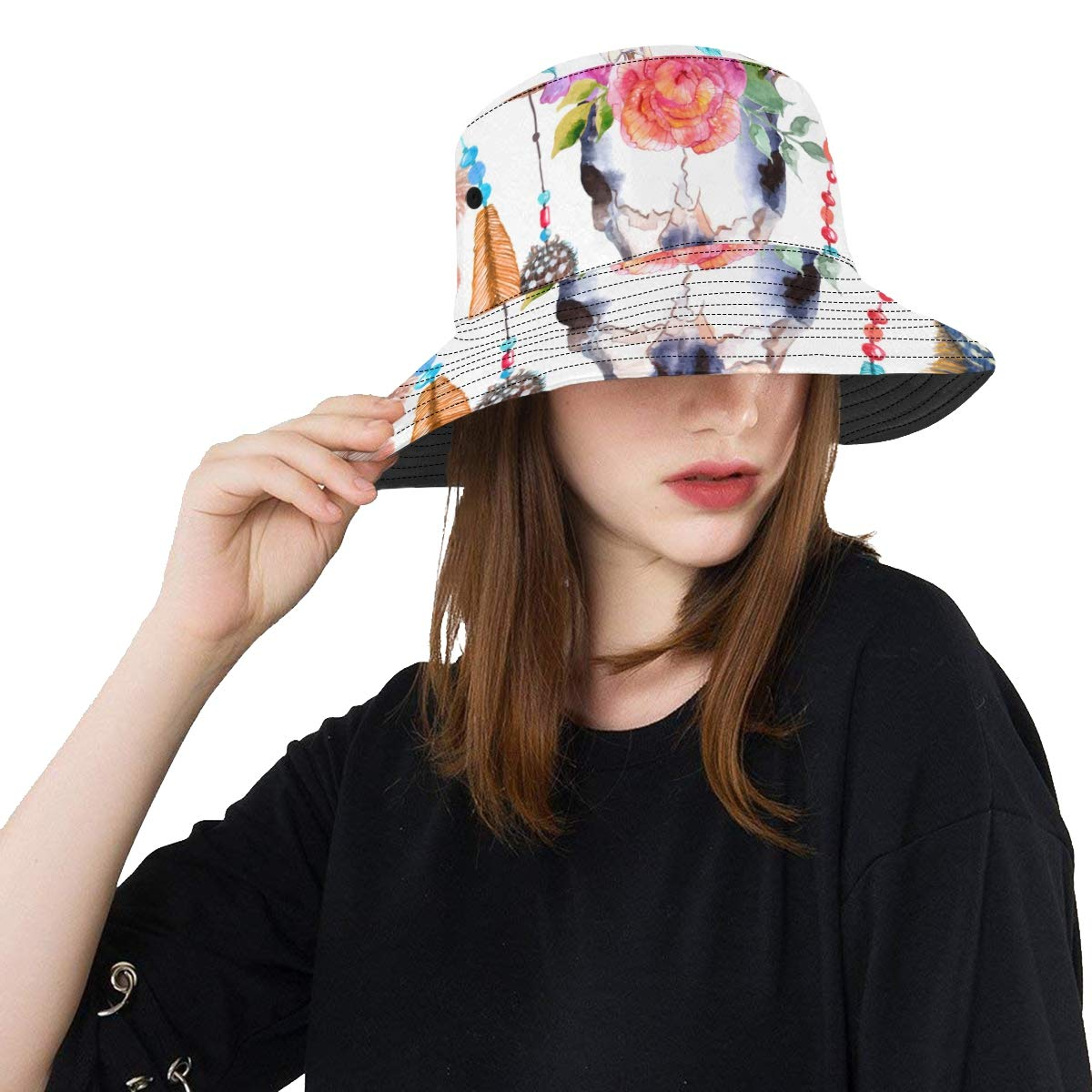 Teens Bull Head Skull with Flowers New Summer Unisex Cotton Fashion Fishing Sun Bucket Hats for Kid Women and Men with Customize Top Packable Fisherman Cap for Outdoor Travel