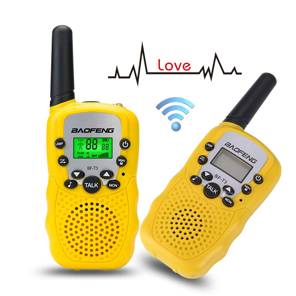Walkie Talkies for Kids BF-T3 Children Outdoor Toys 22 Channels 3 Miles Range (1 Pair Yellow)