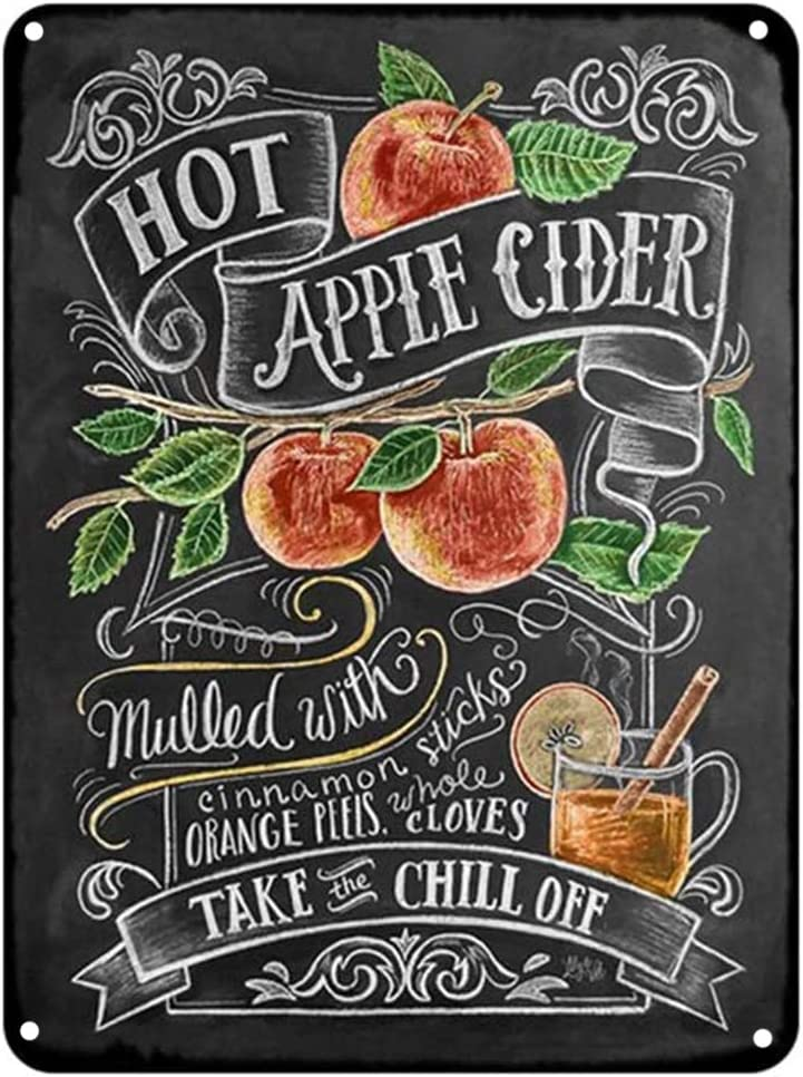 Hot Apple Cider Cocktail Metal Signs Home Decor Vintage Tin Signs Pub Home Decorative Plates Metal Sign Wall Plaques Iron Painting 12 x 8 Inch
